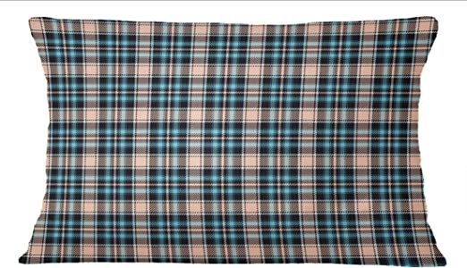 Navy Blue Check Print Home Décor Cotton Poplin 1 Pair Rectangle Pillow Sham