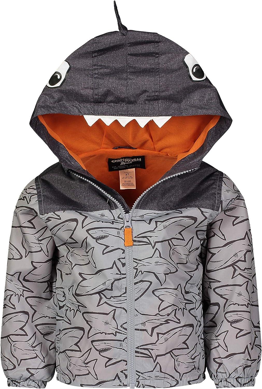 Osh Kosh Baby Boys' Shark Hood Windbreaker Jacket Coat, Grey