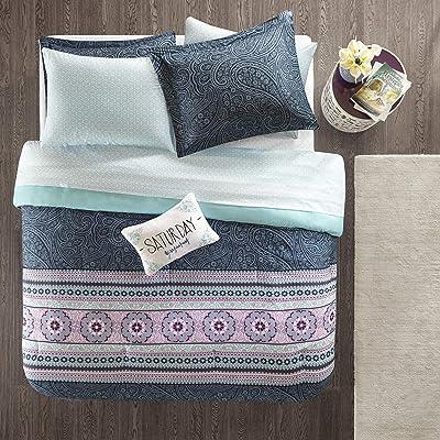 Intelligent Design Gemma Comforter Set Twin Size Bed in A Bag - Teal, Medallion Paisley – 7 Piece Bed Sets – Ultra Soft Microfiber Teen Bedding for Girls Bedroom: Home & Kitchen [5Bkhe0302509]