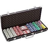 Coffret de poker ultime Black Edition - 500 jetons laser 12 g avec insert en métal - 2 jeux de cartes en plastique - 5 dés - 1 bouton dealer - mallette noire en aluminium