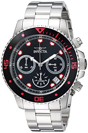 Invicta Mens Pro Diver Quartz Stainless Steel Casual Watch, Color:Silver-