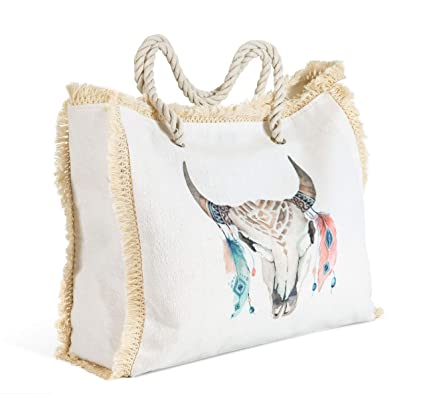 Mut Gran bolso 56 x 39 x 15 cm Original mujer estilo Boho con flecos borlas ibicenco con asas de cuerda lona fina y de calidad, bolsillo interior, ...