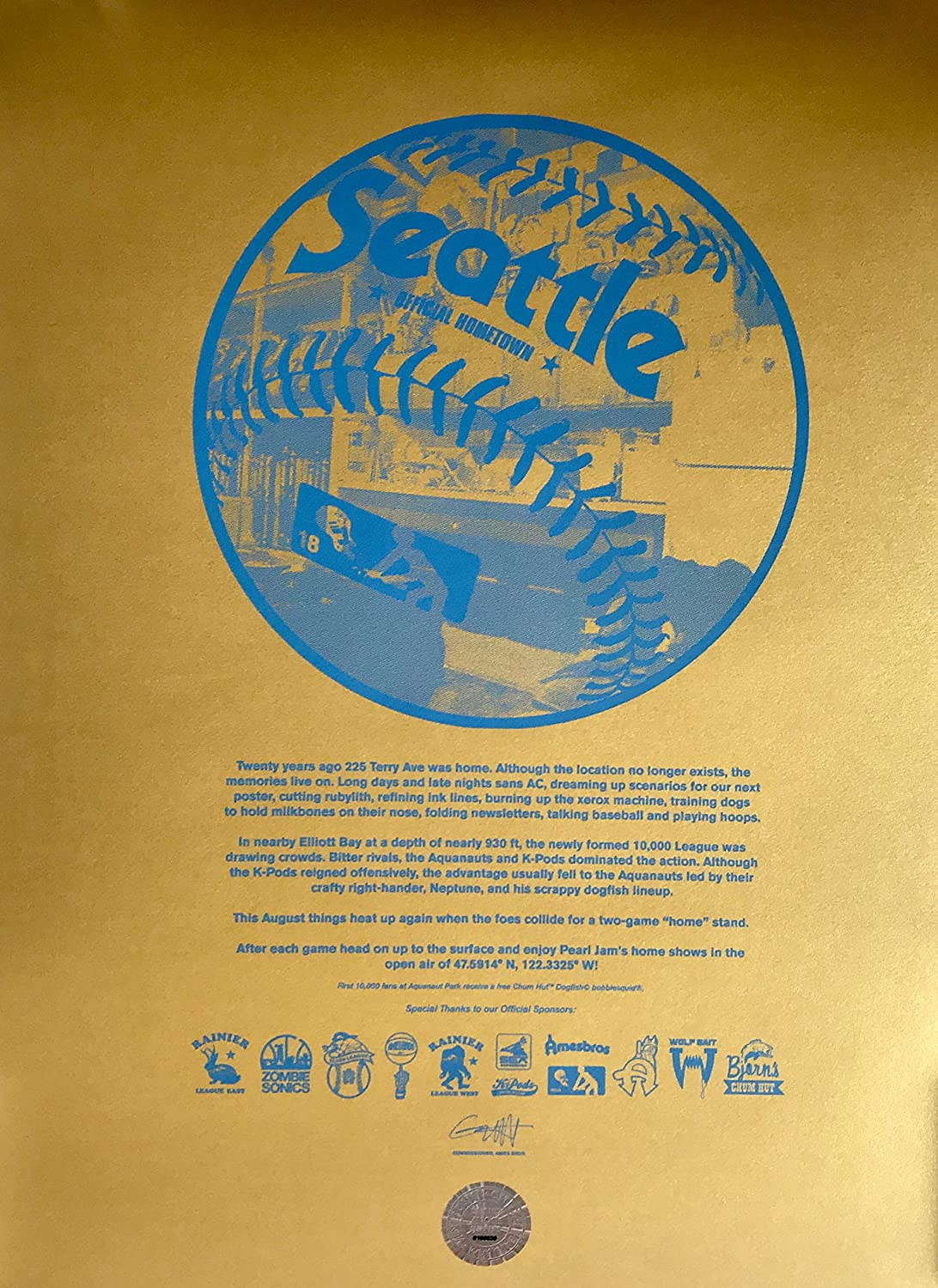 Pearl Jam Seattle Poster Ames Brothers Gold Variant 50 Inkstarcyclonetattoomachinediagramjpg 110 Safeco Field Mariners The Home Shows Rare Sports Collectibles