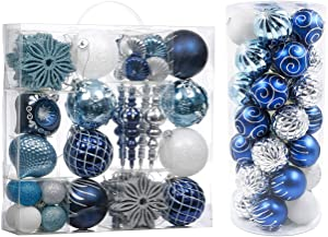 Valery Madelyn Winter Wishes Blue Silver Christmas Ball Ornaments Bundle (2 Items) | 70ct Multi Shaped Sizes Colors Xmas Ornaments + 35ct 70mm Christmas Ornaments Balls for Christmas Tree Decor