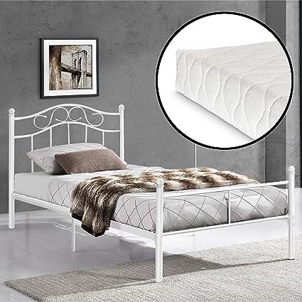 [en.casa] Cama de Metal 90x200 Blanca con Colchón Incluido Estructura Base con Somier