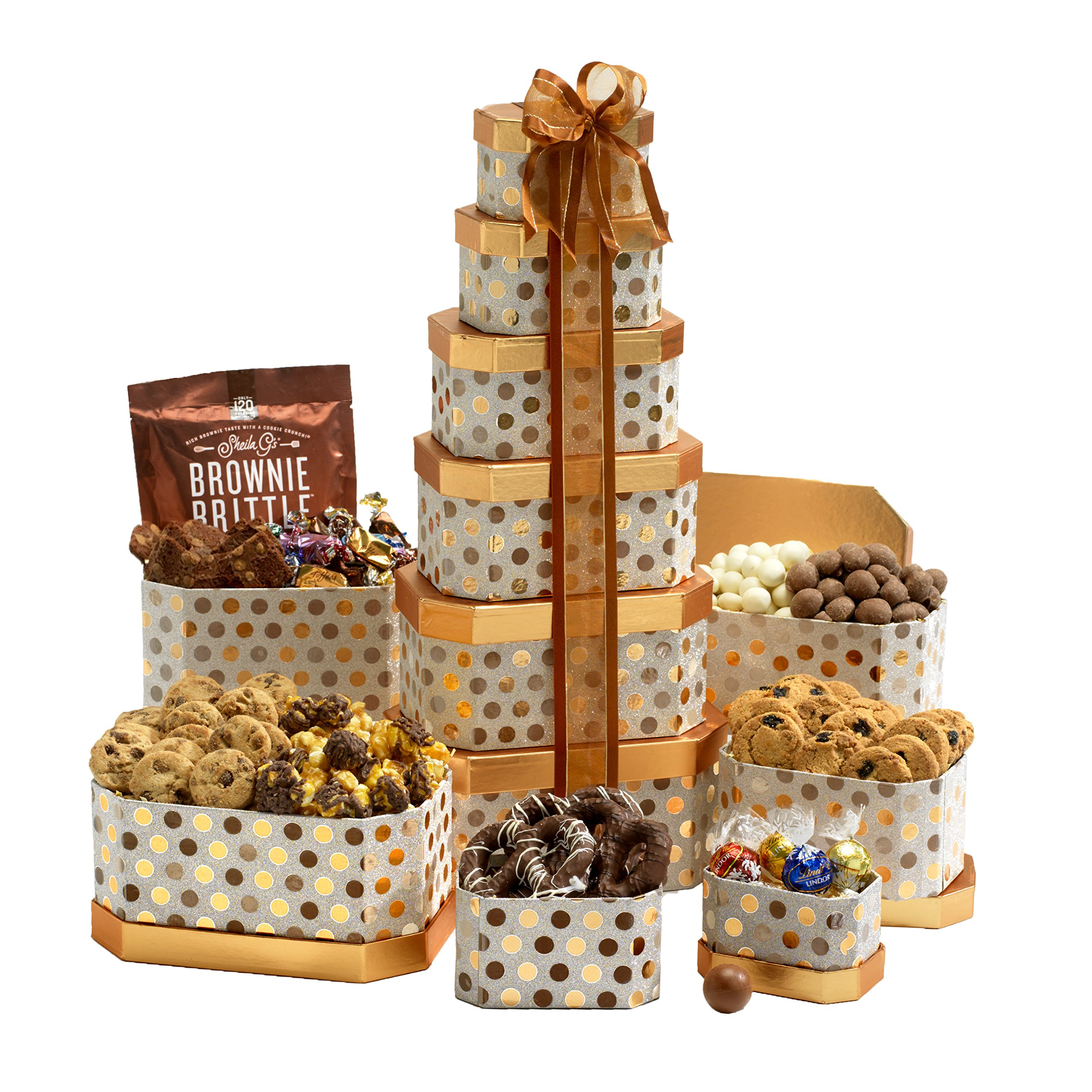 Broadway Basketeers Gourmet Gift Tower with an Assortment of Chocolate, Snacks, Sweets, Cookies and Nuts by Broadway Basketeers