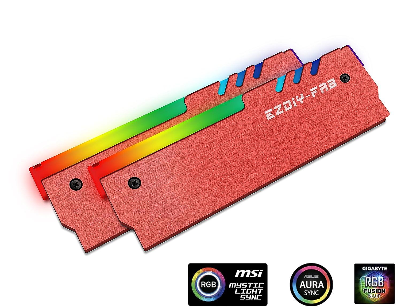EASYDIY ARGB RAM Kü hler RGB DDR Speicher Kü hlkö rper Kü hlweste Fin Strahlung fü r DIY PC-Spiel Overclocking MOD DDR3 DDR4 (kompatibel mit Aura Sync, RGB Fusion und Mystic Light Sync)-Schwarz-2 Pack