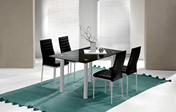 Mesa fija para comedor o salon de cristal templado color negro y patas  color gris 140cm