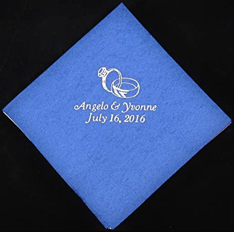 50 Personalized Beverage Napkins Wedding Favors Custom Printed