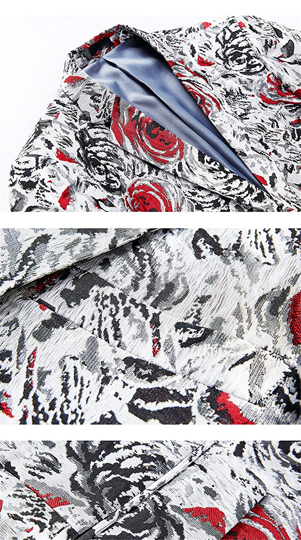 Mens Rose Floral Slim Fit Prom Blazer Blazers Casual Silver Red Blazer Jacket