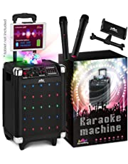 Karaoke Machine for Kids & Adults – New Wireless Microphone Speaker with Disco Ball, 2 Wireless Bluetooth Microphones & Free Phone/Tablet Holder –Karaoke Bluetooth Toys for Kids G100 by KaraoKing