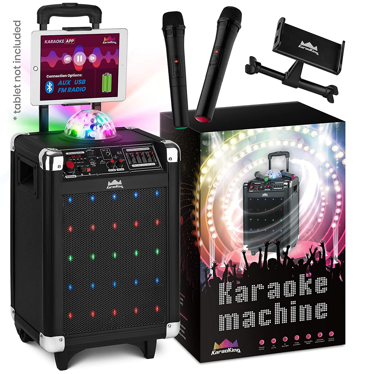 Karaoke Machine for Kids & Adults – 2019 New Wireless Microphone Speaker with Disco Ball, 2 Wireless Bluetooth Microphones