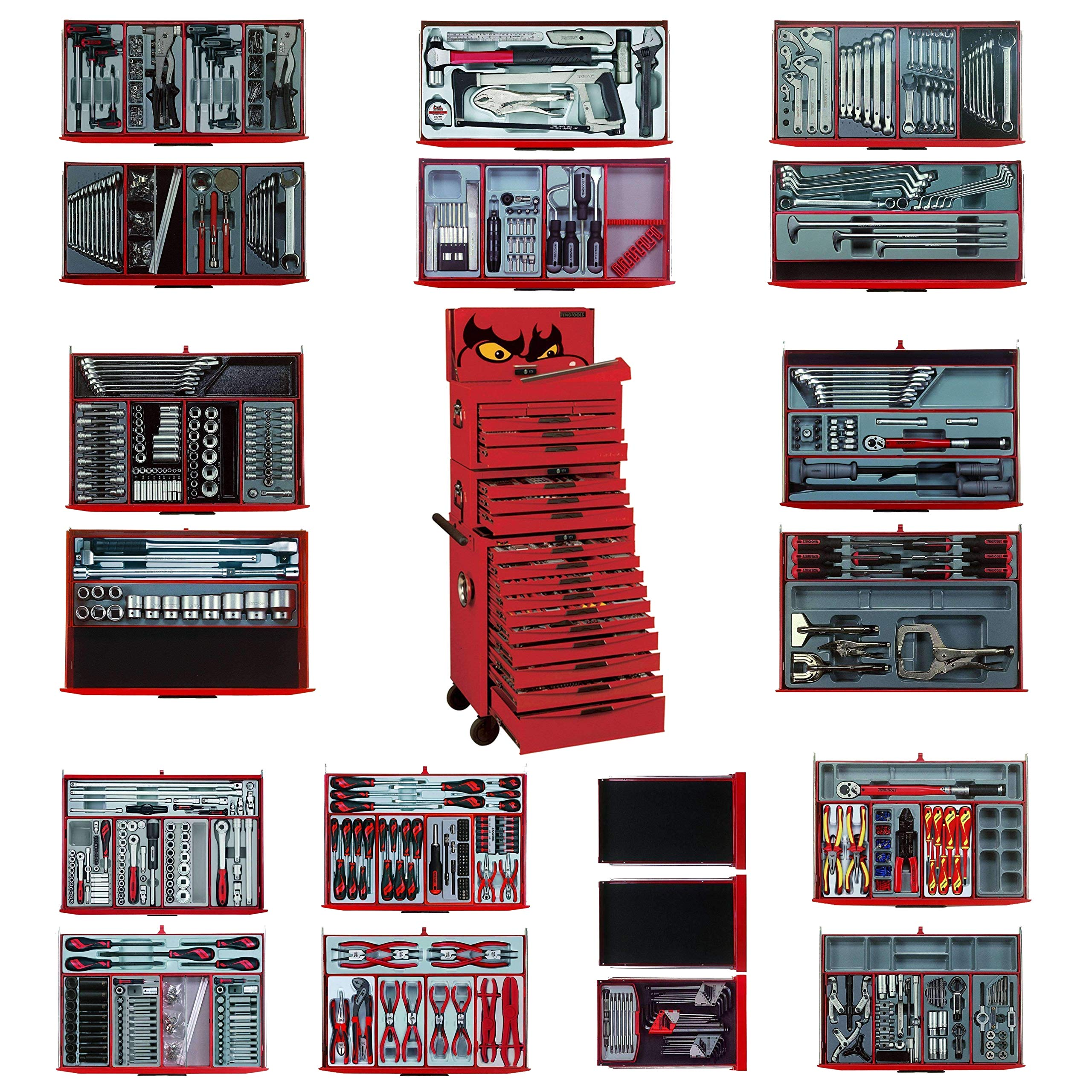Teng Tools 1001 Piece Complete Mega Master Mixed Hand Tool Kit With 3 Heavy Duty Toolbox Storage Cases - TCMM1001N