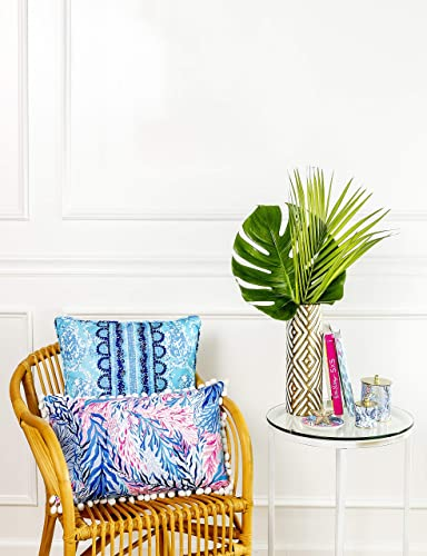 Lilly Pulitzer Indoor Outdoor Large Blue Decorative Pillow, Turtley Awesome