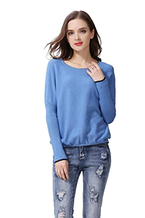 1a040ffdc0f MILLION MADEBYKO Women s New Back Button Design Fashion Round Boat Neck  Cashmere Sweater with Long Dolman