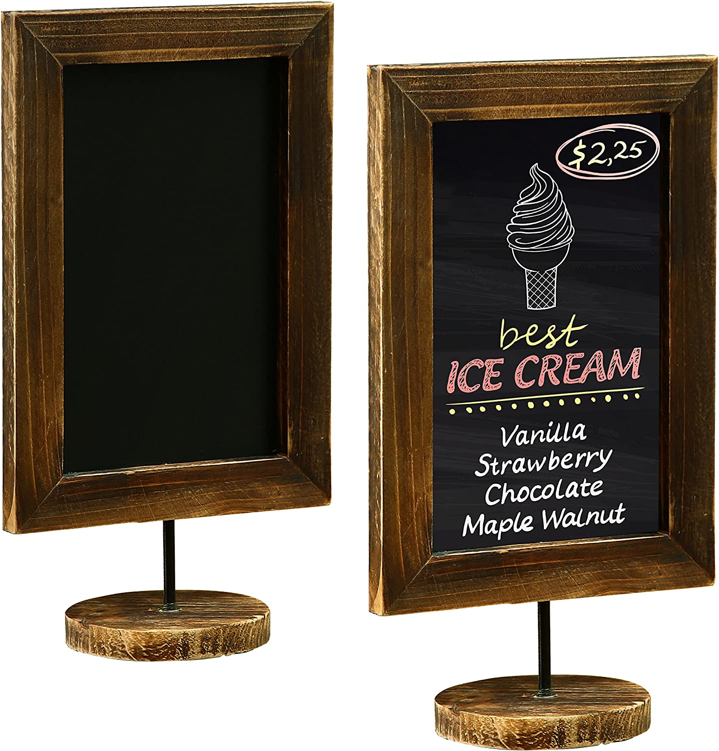MyGift 12-Inch Burnt Wood Framed Memo Chalkboard, Countertop Home Message Board Sign, Set of 2