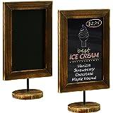 MyGift 12-Inch Burnt Wood Framed Memo Chalkboard, Countertop Home Message Board Sign, Set of 2