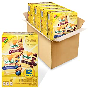 belVita Breakfast Biscuit Bites Variety Pack, 3 Flavors, 4 Boxes of 12 Packs (48 Total Packs)
