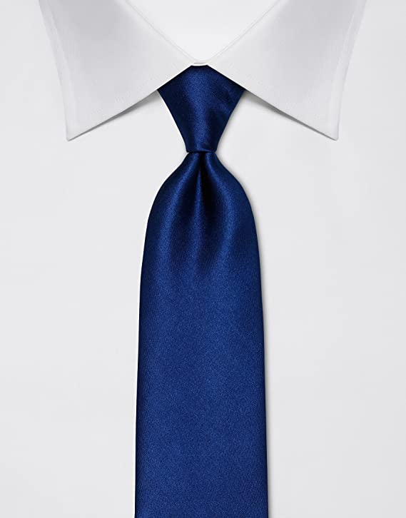 Vincenzo Boretti Corbata de hombre en seda pura, lisa azul oscuro ...