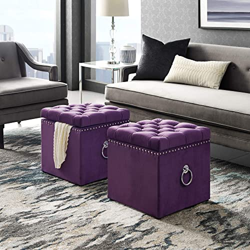 Ella Purple Velvet Storage Ottoman