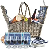 VonShef Deluxe 4 Person Folding Handle Picnic Basket Hamper with Cutlery, Plates, Glasses, Tableware & Fleece Blanket