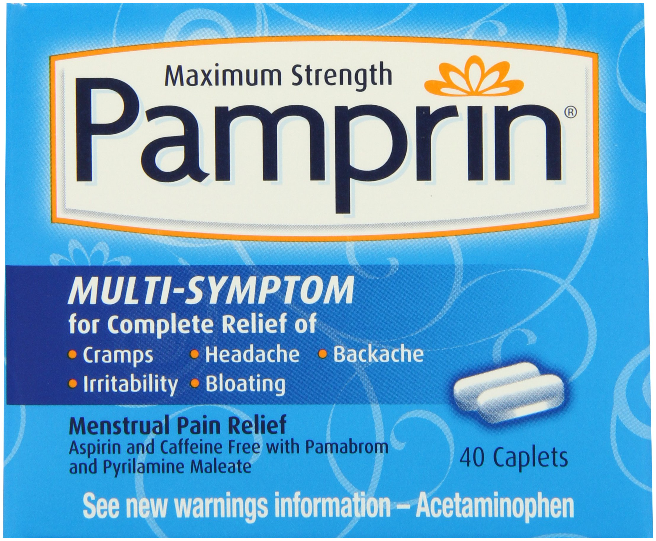 Pamprin Maximum Strength Multi-Symptom Menstrual Relief Tablets, 40-Count Boxes (Pack of 3) by Pamprin