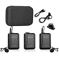 Movo WMX-1-DUO 2.4GHz Dual Wireless Lavalier Microphone System Compatible with DSLR Cameras, Camcorders, iPhone, Android…