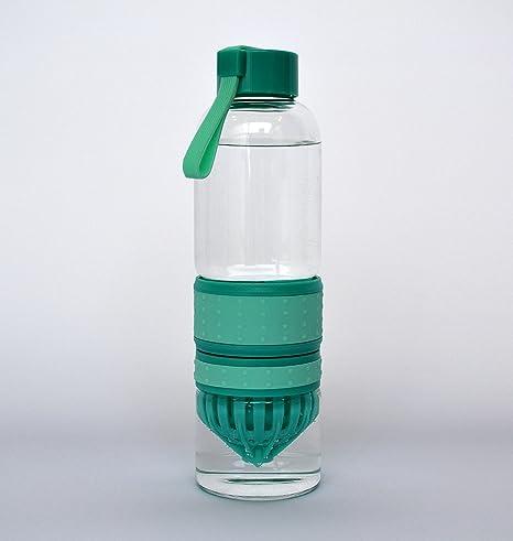 Alta calidad botella de agua de vidrio con cítricos exprimidor en color azul, verde o
