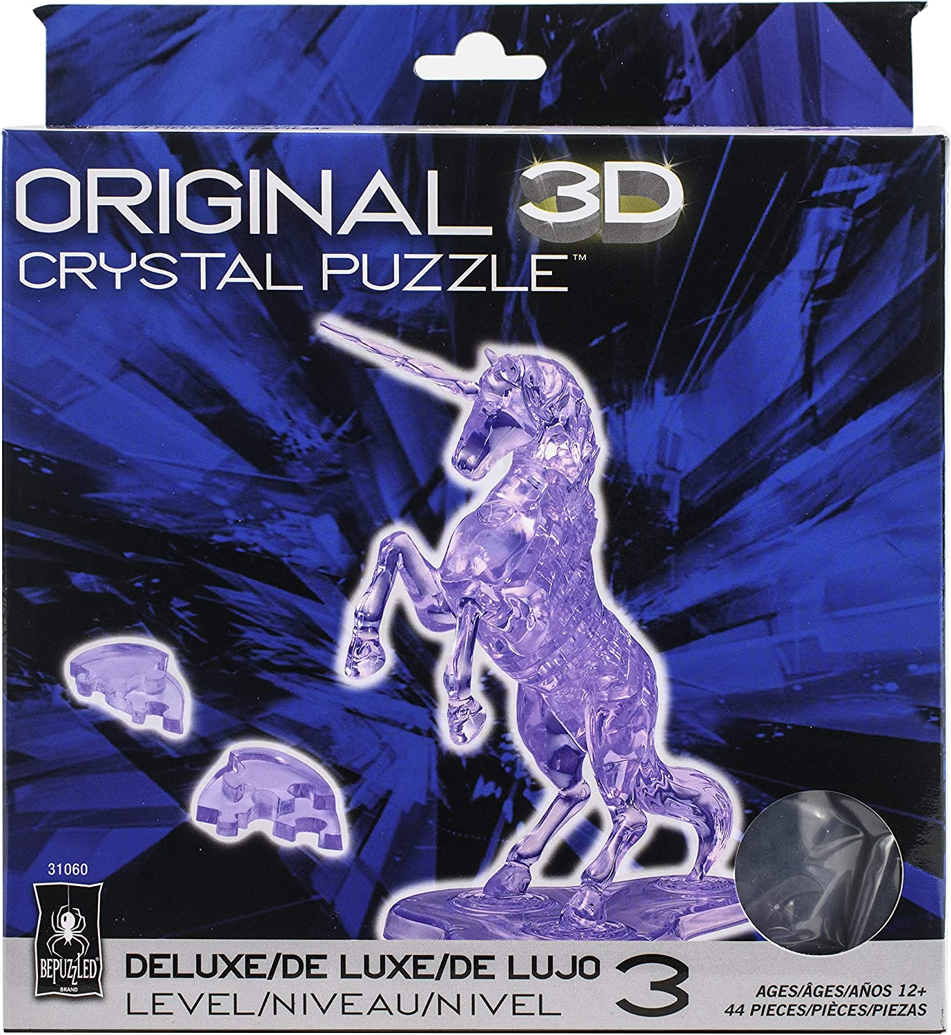 BePuzzled (BEPUA) Deluxe 3D Crystal Puzzle-Unicorn - Fun Yet Challenging Brain Teaser That Will Test Your Skills & Imagination, for Ages 12+(Purple), Model Number: 31060M