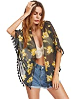 ROMWE Women's Tassel Floral Chiffon Kimono Cover up Blouse Tops