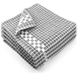 Fecido Classic Dark Kitchen Dish Towels with Hanging Loop - Heavy Duty Absorbent Dish Clothes - European Made 100% Cotton Tea Towels - Set of 4, Silver Gray