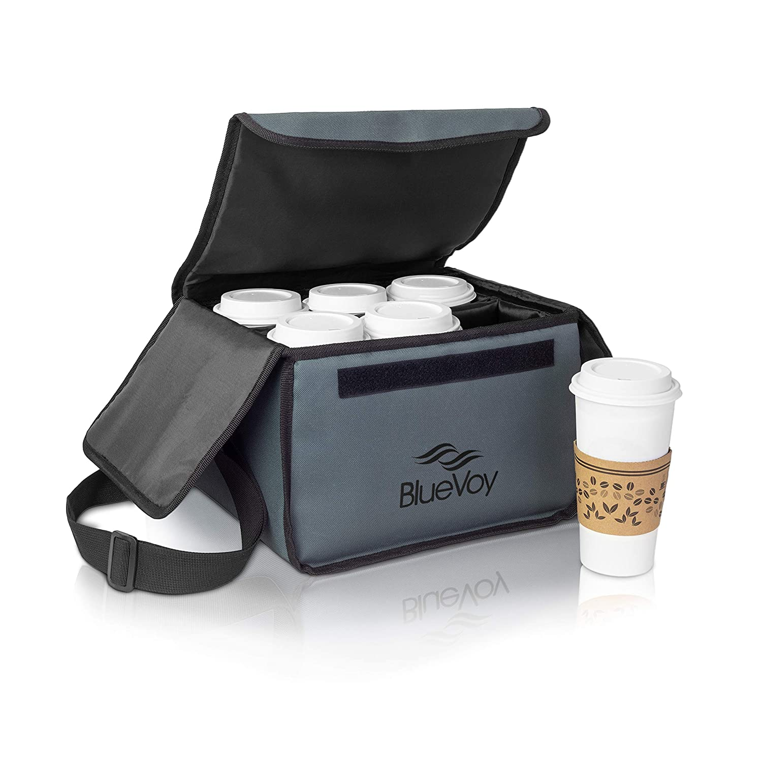 Reusable Drink Carrier for Delivery and Food Delivery Bag   Drink Holder Works as a Travel Coffee Carrier to Go, Drink Caddy Bag, Cup Carrier Tote and Drink Carrier with Handle and Removable Dividers