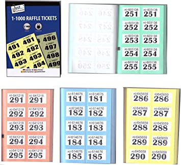 Raffle Cloakroom Tickets 500 1000 Books Tombola Numbered Different Colour QTY