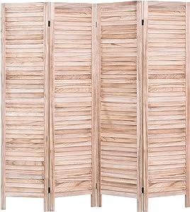 Rose Home Fashion RHF 4 Panel 5.6 Ft Tall Wood Room Divider, Wood Folding Room Divider Screens, Panel Divider&Room Dividers, Room Dividers and Folding Privacy Screens(4 Panel, Natural)