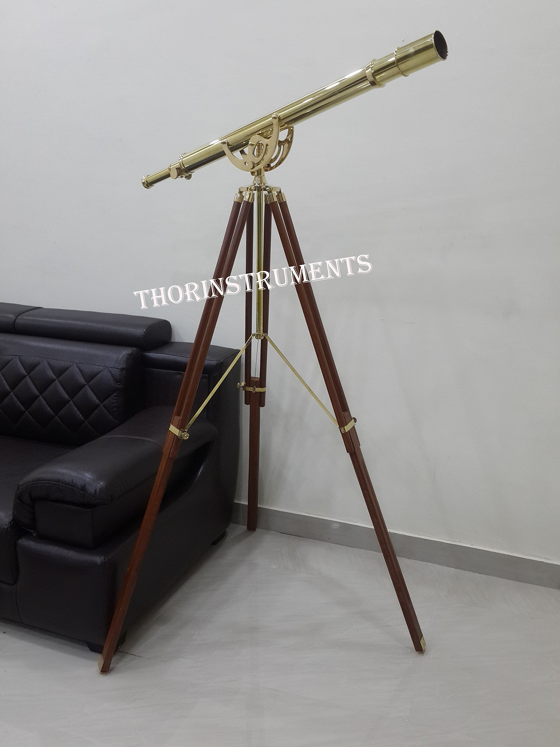 Thor Brass Harbormaster Nautical Telescope Griffith Astro Standing Floor Stand Brown Tripod