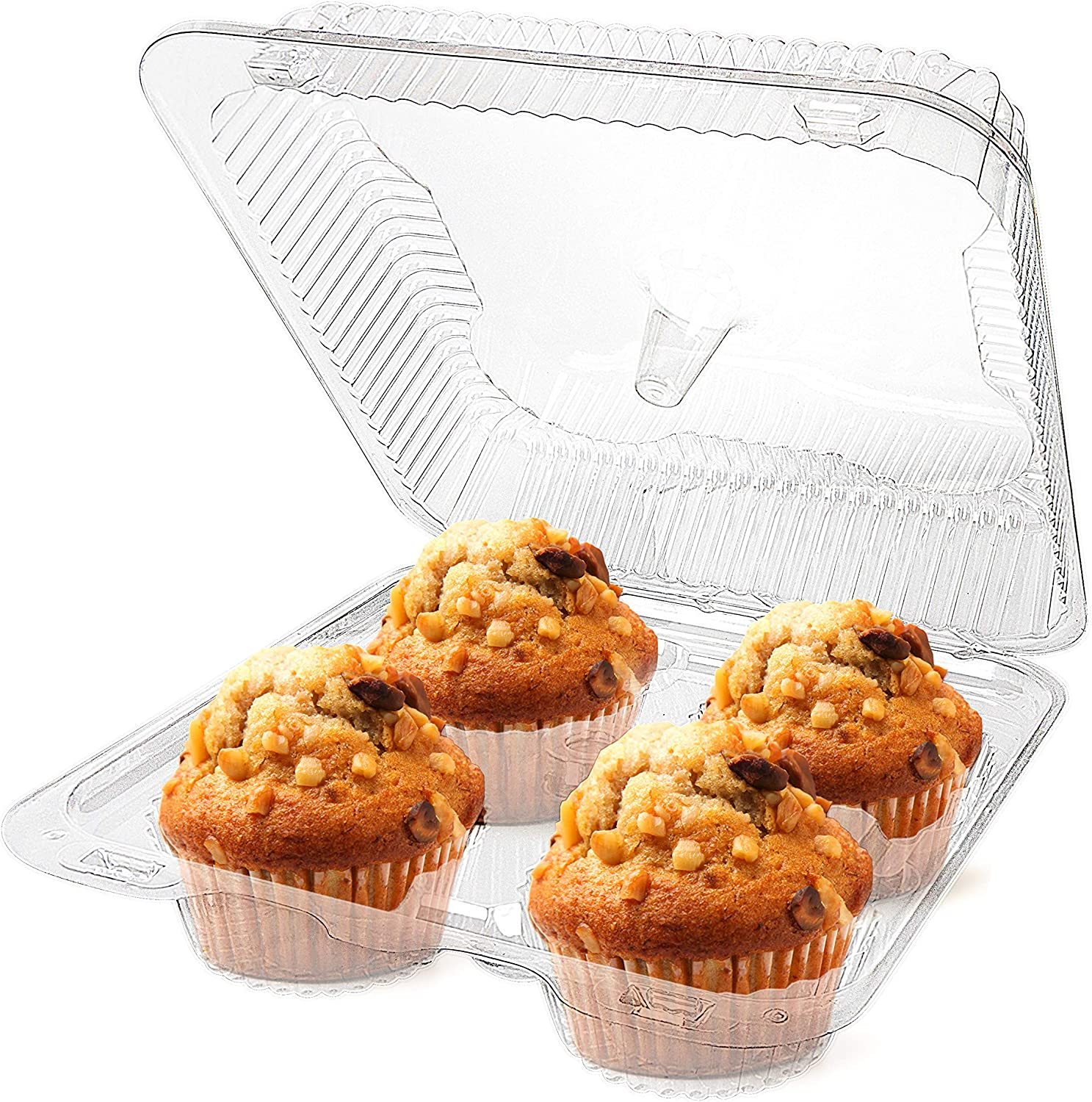Stock Your Home 4-Compartment Disposable Containers (20 Count) - Plastic Cupcake Containers - Disposable Trays for Cupcakes & Muffins - Hinged Lock Cupcake Clamshell - Deep Cups for Cupcake Storage