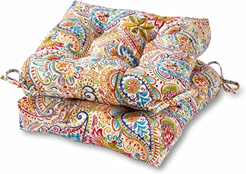 Greendale Home Fashions 20-inch Outdoor Chair Cushion in Painted Paisley set of 2 , Jamboree