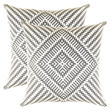 TreeWool Throw Pillowcase Kaleidoscope Accent Pure Cotton Decorative Cushion Cover (18 x 18 Inches / 45 x 45 cm; Graphite Grey) - Pack of 2