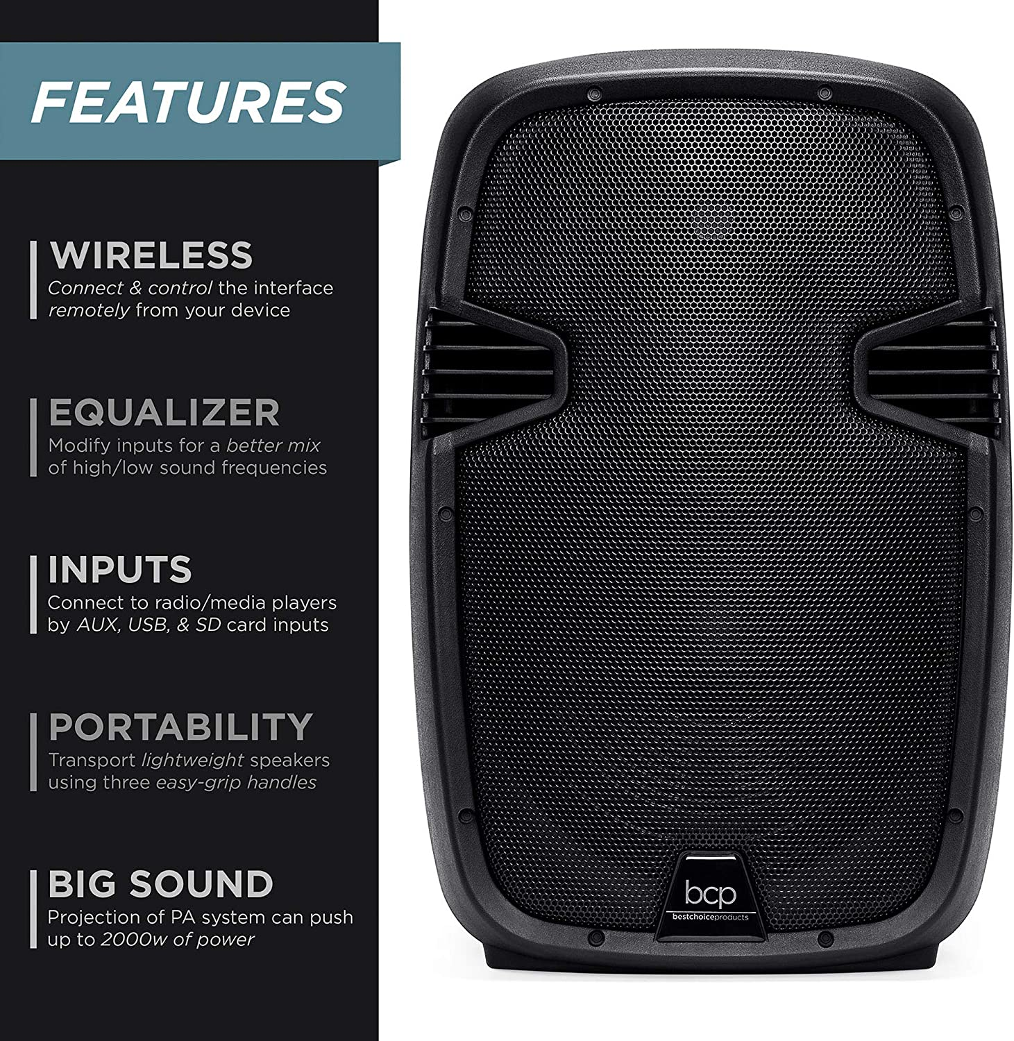 Wireless Microphone Best Choice Products 2000W Dual 2-Way Full Range Wireless Speakers Remote Cables AUX and USB Input Portable PA System w// 12in Woofers