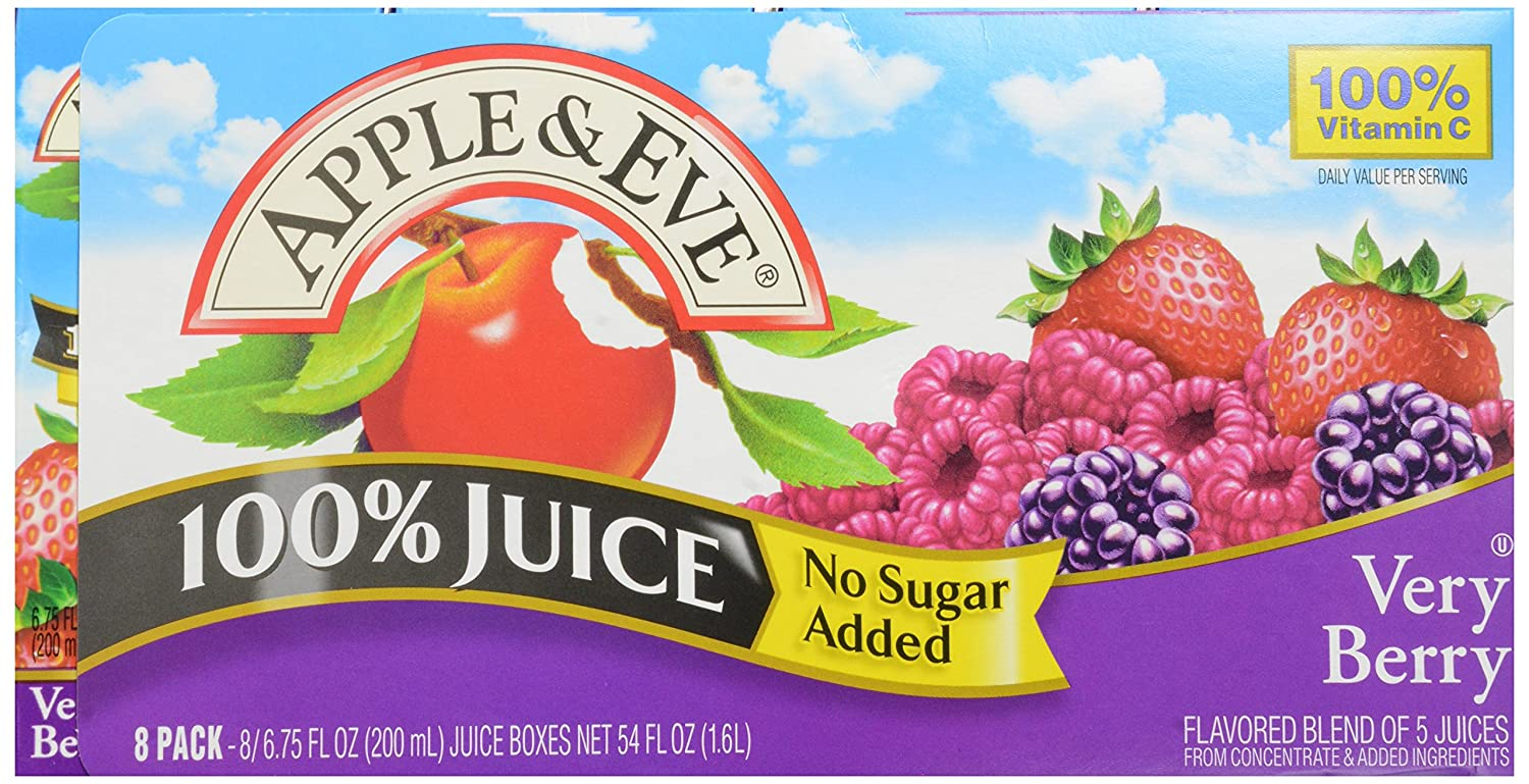 Apple & Eve 100% Juice Very Berry, No Sugar Added, 6.75 Fl Oz, Pack of 8
