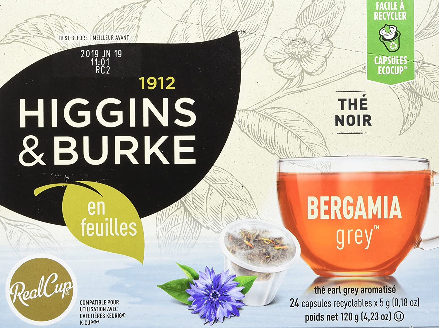 Premium Authentic Herbal Tea with Natural Blend Higgins /& Burke Single Serve Tea Capsules 24 Count Lush Berry Loose Leaf Tea