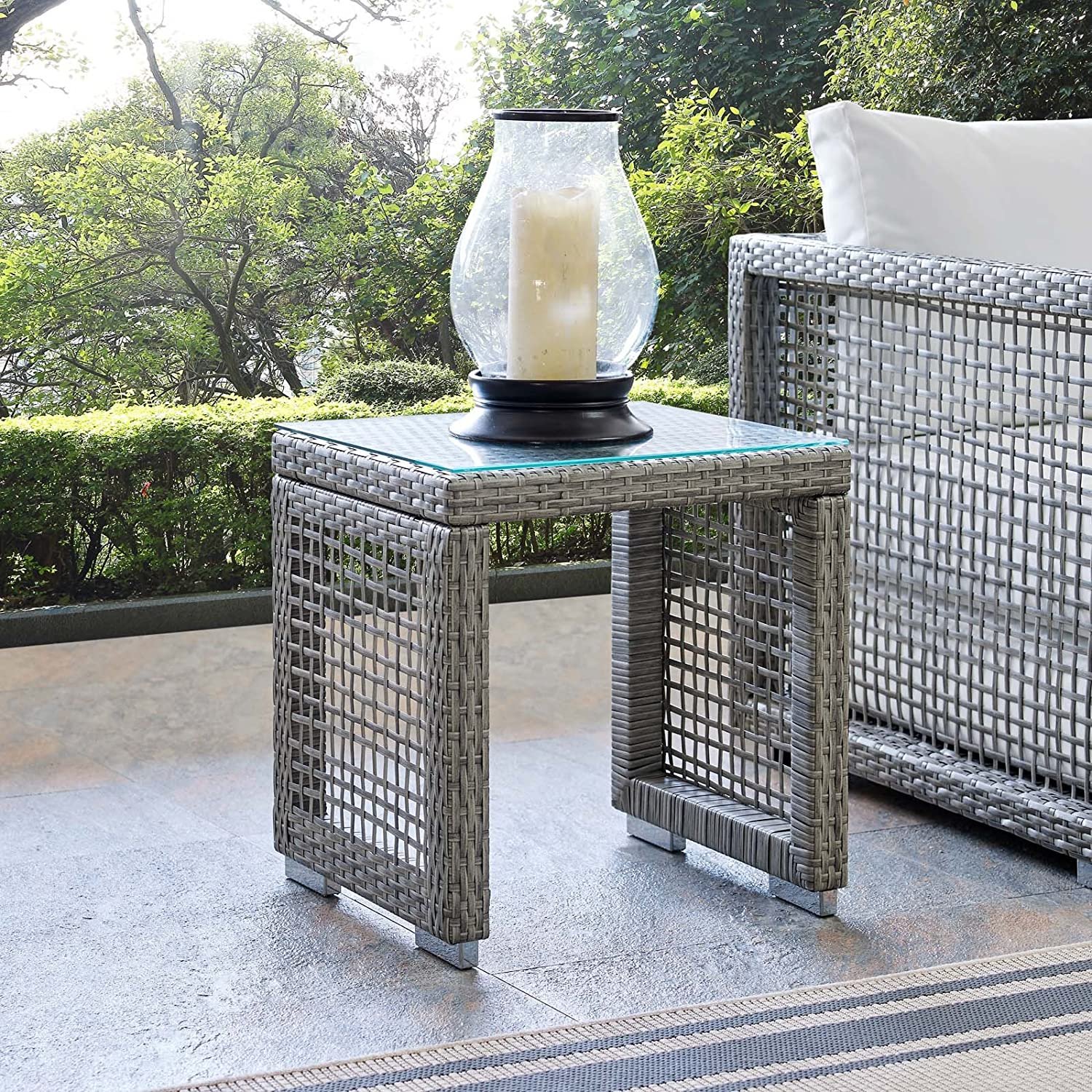 Modway EEI-9-GRY Aura Outdoor Patio Wicker Rattan Side Table, Gray Gray