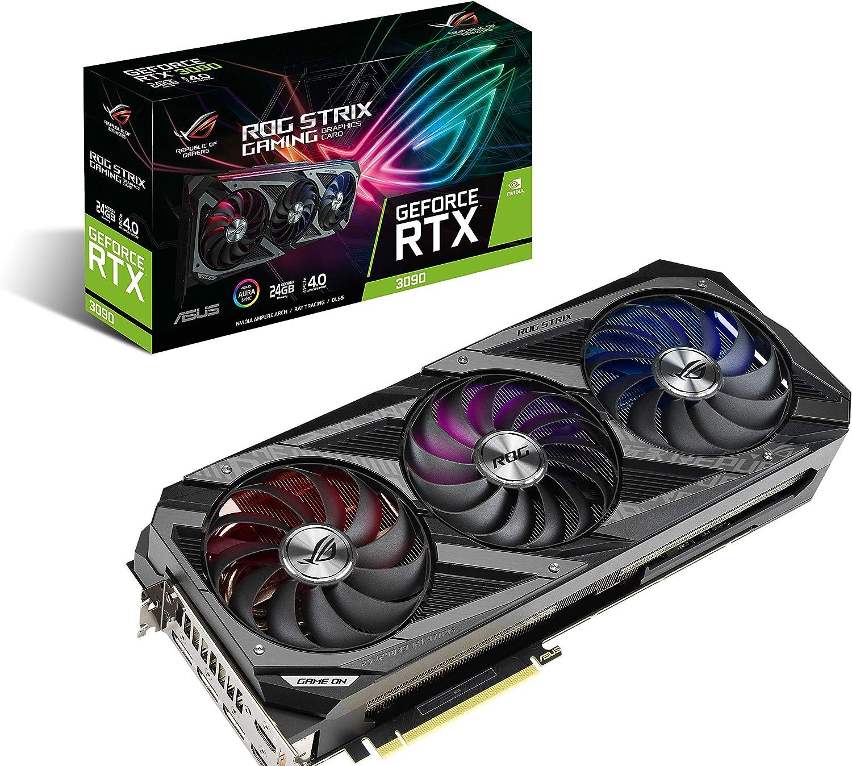 Amazon Com Asus Rog Strix Nvidia Geforce Rtx 3090 Gaming Graphics Card Pcie 4 0 24gb Gddr6x Hdmi 2 1 Displayport 1 4a Axial Tech Fan Design 2 9 Slot Computers Accessories