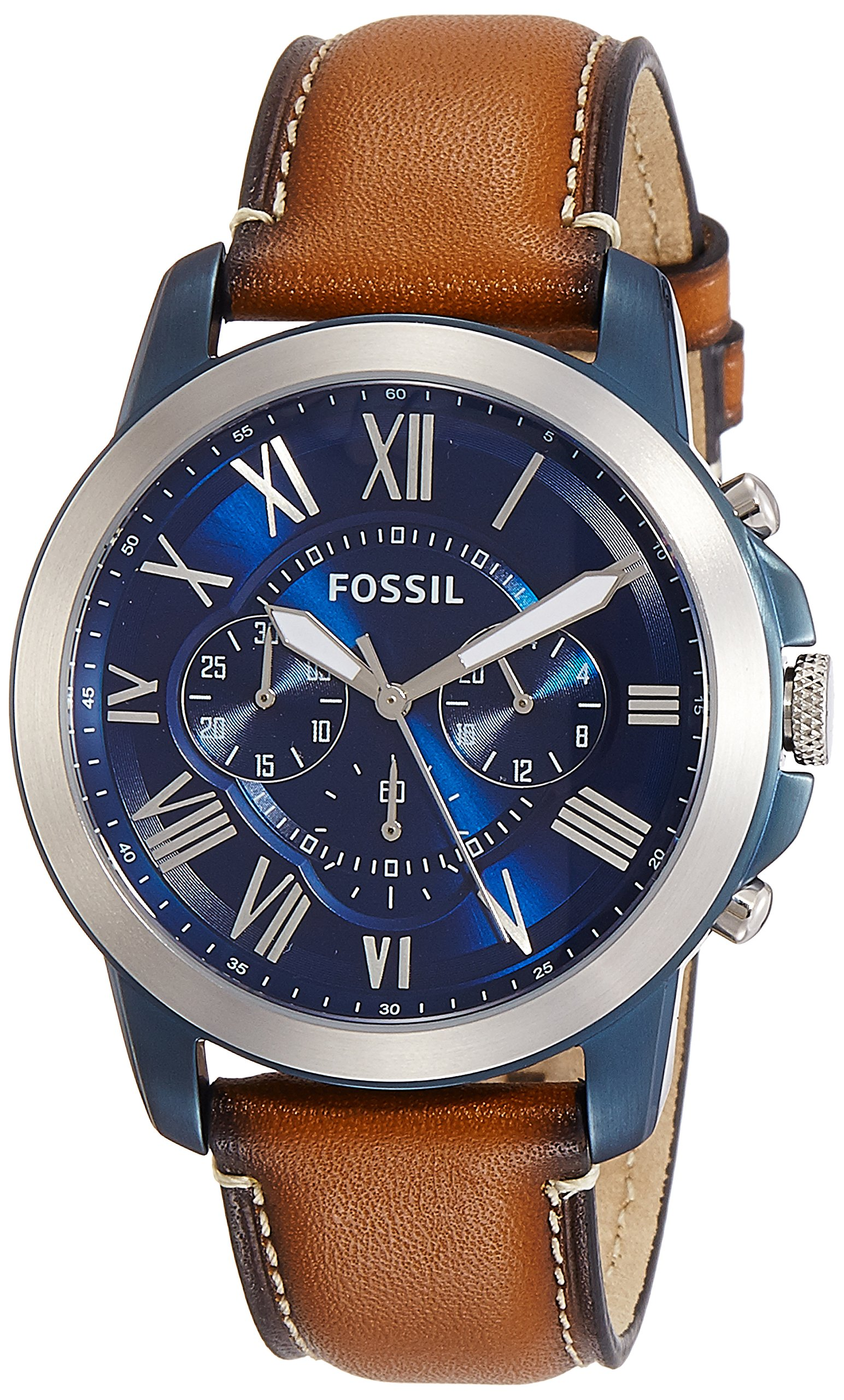 Fossil Men's Grant Quartz Stainless Steel and Leather Chronograph Watch, Color: Blue, Brown (Model: FS5151) by Fossil