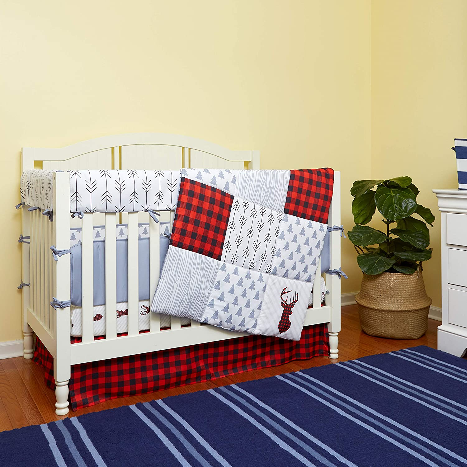 5 Piece Baby Crib Set, 100% Cotton Crib Sheet, Quilted Blanket, Bumper, Crib Skirt & Crib Rail Covers. Deer ; Red Lumberjack, Red/Black Buffalo Plaid; Poly Mat. for Durability, WalkerRun