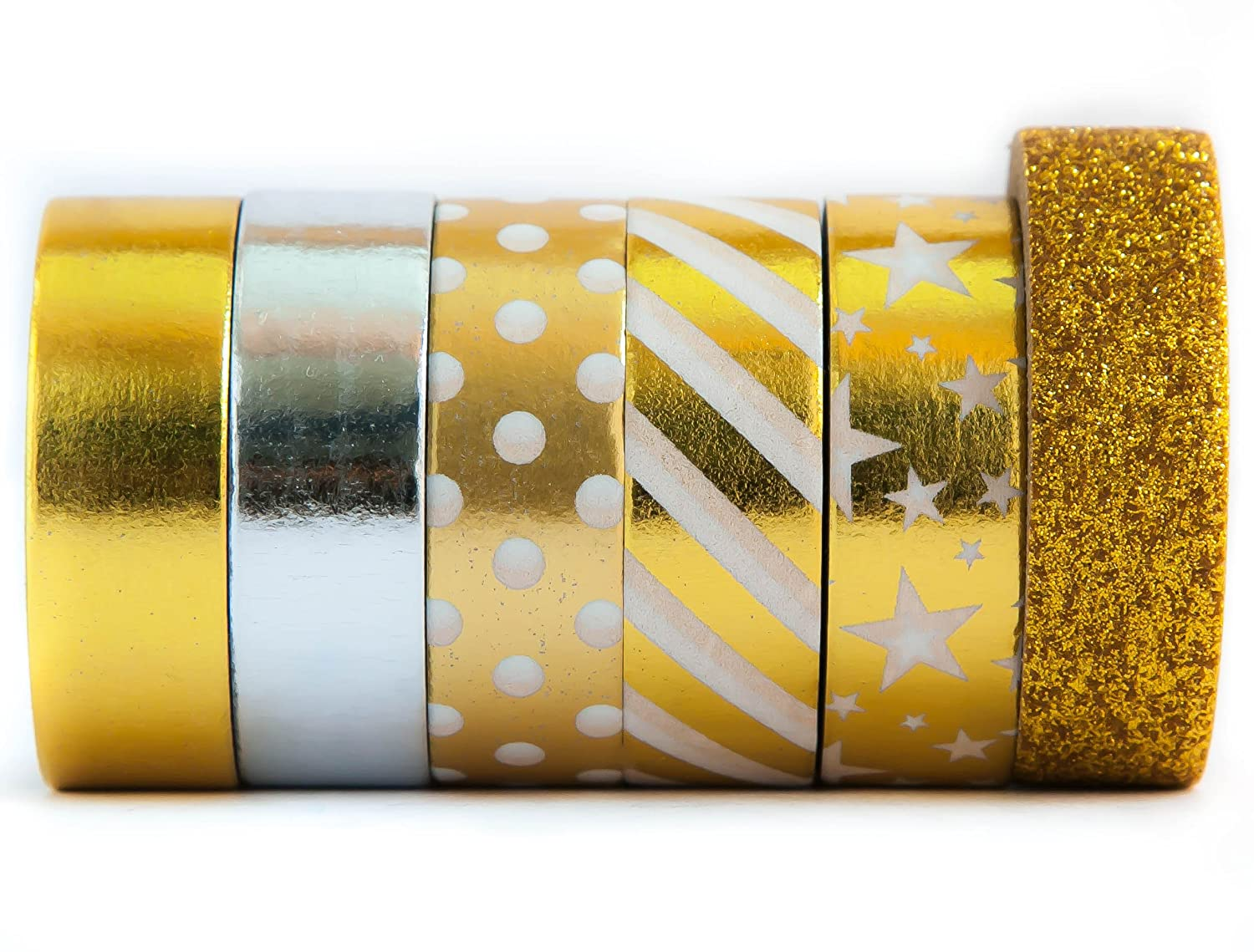 Glitter Gold Washi Tape Colored Decorative Masking Paper Tape – Stripe, Star, Solid, Polka Dot, Silver, Gold, Yellow - Premium Quality Repositionable & Writable - 6 Rolls (15mm x 10m) - Gold & Silver - by Washi.Design (Glitter Gold) WDFGD610