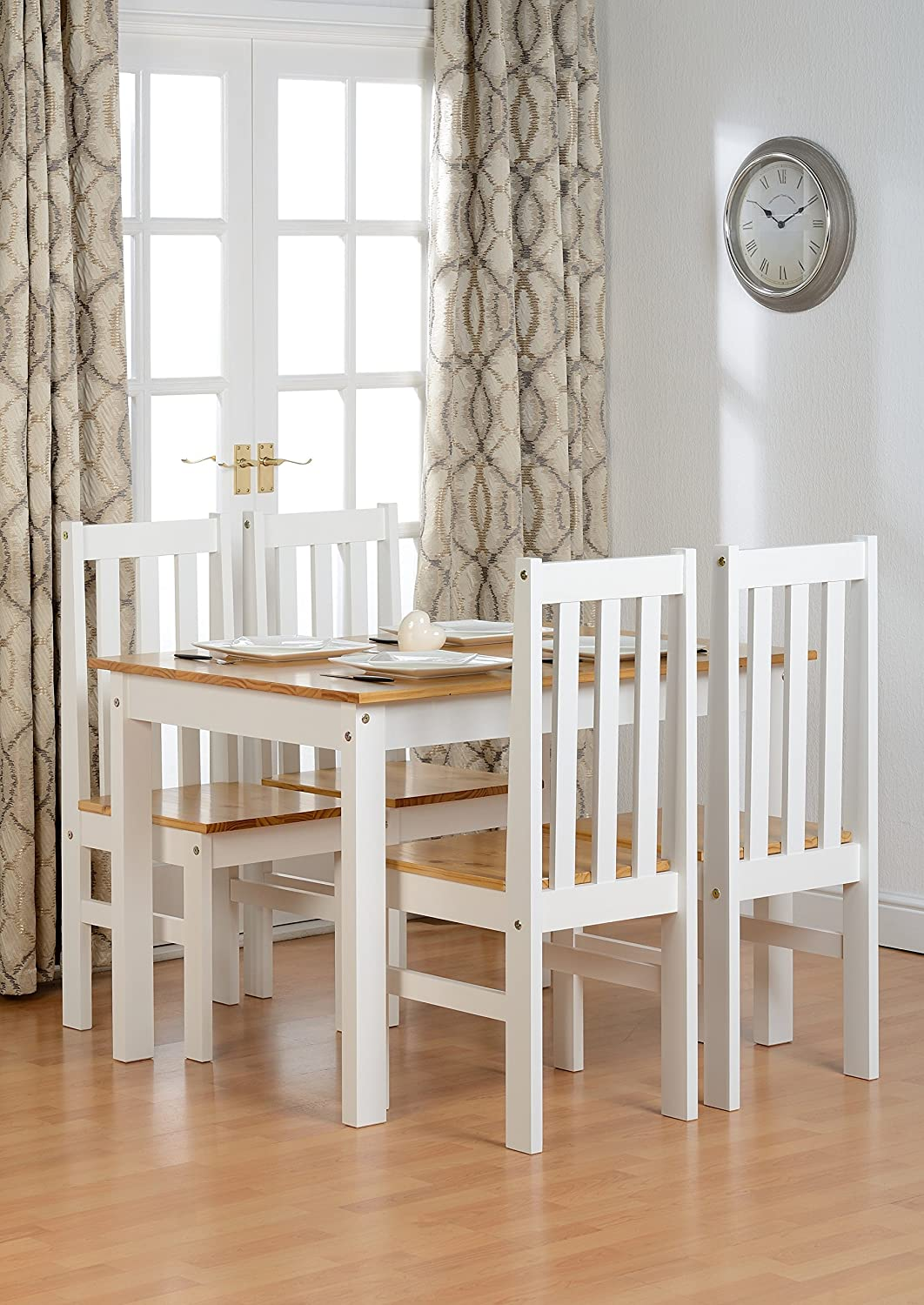 Seconique Ludlow Dining Set   White And Oak   Dining Table And 4 Slatted,  Highback Chairs: Amazon.co.uk: Kitchen U0026 Home