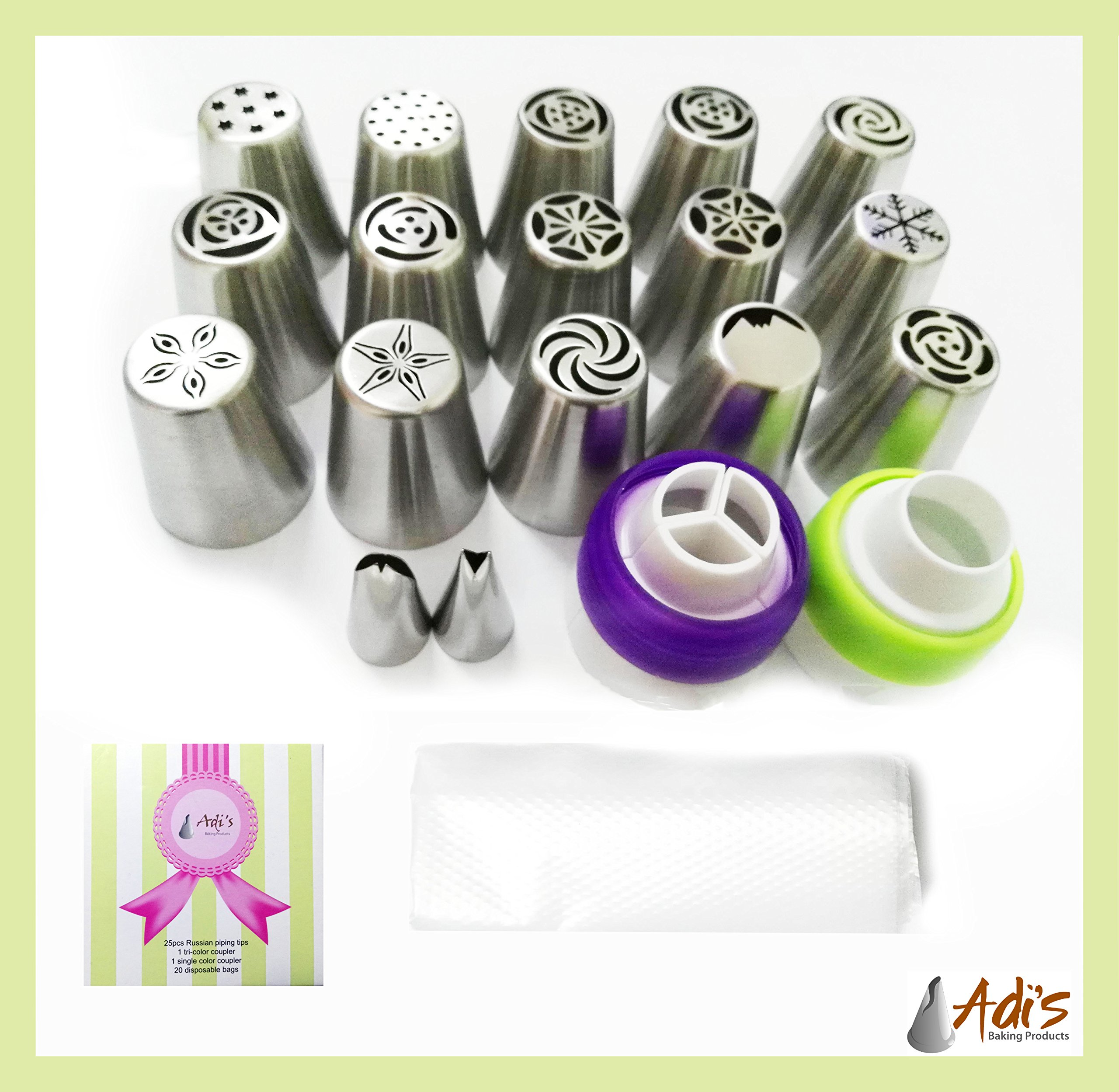 Russian Piping Tips 15 PCS, For the Creative Mom. Icing Nozzles Decorating Tools for Family Occasion. 1 Tricolor Coupler + A Single-Color Coupler & 20 Disposable Bags.