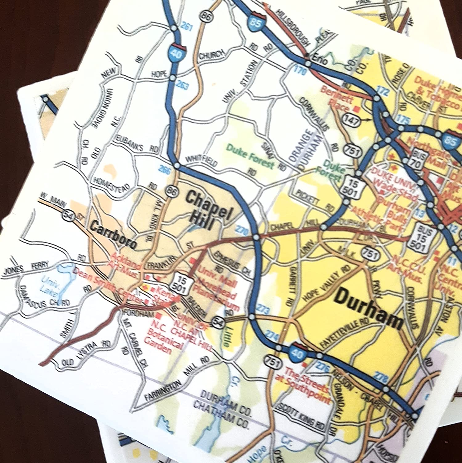 Amazon.com: Raleigh, Durham Map Coasters, Set of 4 ... on geofence map, world clock map, dvb-t map, cdma map, xml map, linux map, tetra map, android map, isp map,