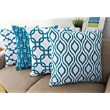 Howarmer Canvas Cotton Throw Pillows Cover for Couch Set of 4 Teal Accent Pattern 18 X 18-inch